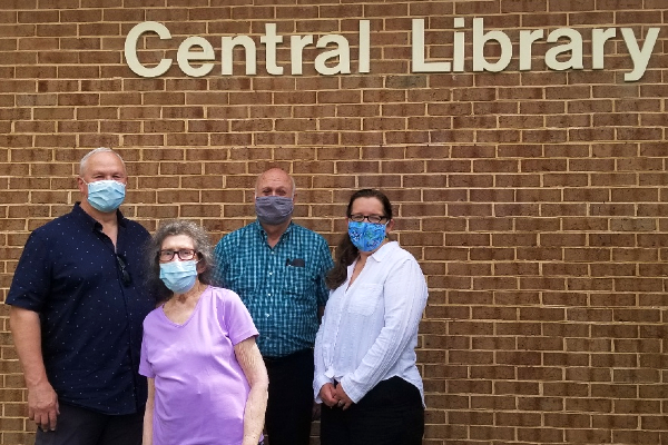 Pictured from left to right are Friends of Central Community Library President Tom Gurney, Vice President Rhoda Westler, Treasurer Jim Boucher and Social Media Coordinator Angela Pounders.