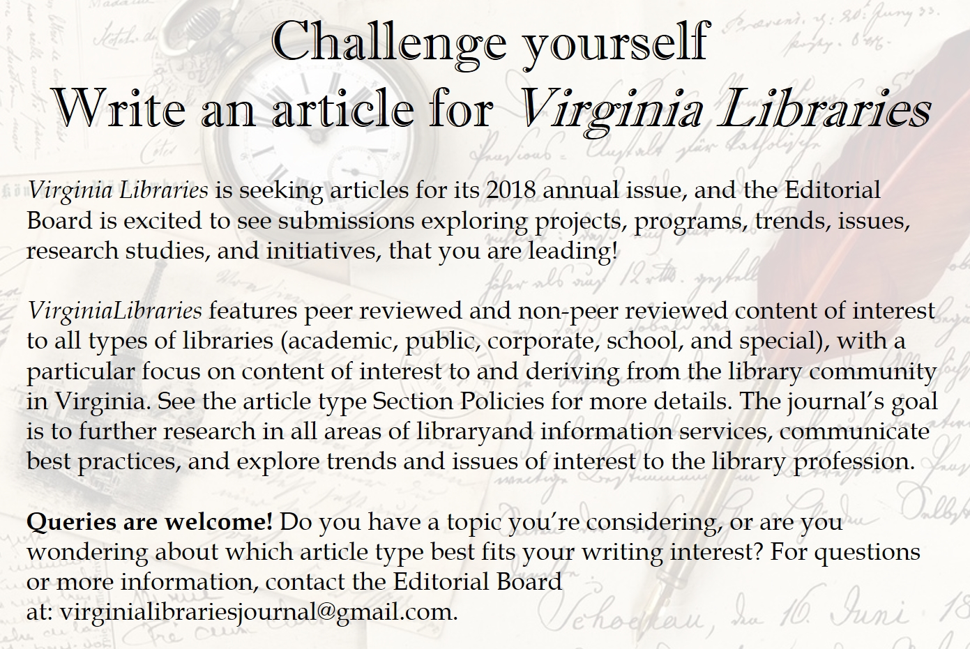 Challenge Yourself: Write for Virginia Libraries. Virginia Libraries is  seeking articles for its 2018
