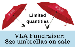 VLA Fundraiser of twenty-dollar umbrellas on sale